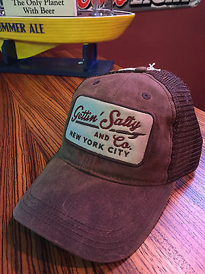 Gettin Salty Brown Waxed Trucker Hat-Firefighter Cap-Firefighter Hat