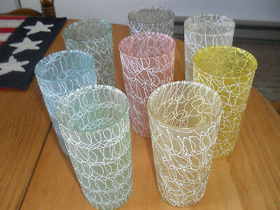 Set of 8 Vintage Spaghetti String Drinking Glasses
