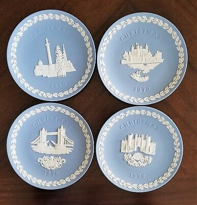 Lot of 4 Wedgwood Christmas Collector Plates In Original Boxes 1970, 73, 75, 76