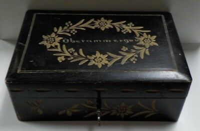Oberammergau Germany Wood Box with Key  / Hand Carved Floral Design
