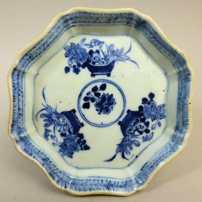 Antique Chinese Blue & White Porcelain Teapot Stand C.1770