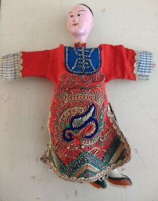 Chinese Opera Doll In Red Embroidered Robe.