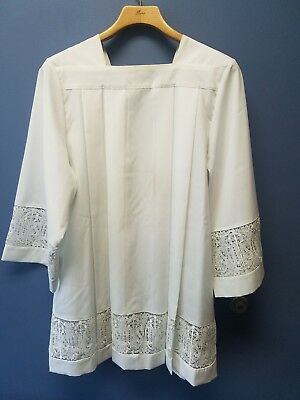 Altar Server square yolk IHS lace surplice pleated