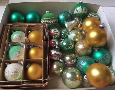 Vtg Green Gold Silver Lot 34 SHINY BRITE Czech GLASS Christmas Ornament