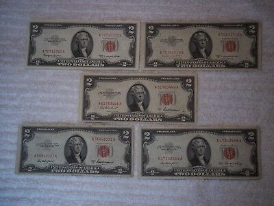 1953 $2 United States Note Red Seal (lot of 5) circulated notes-shown