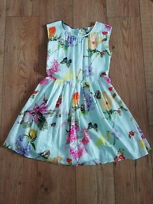 Beautiful NEXT Blue Dress With Floral Design Age 10 Worn Once
