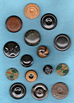 antique CARD 15 CELLULOID TIGHT CAPS  BUTTONS etched tops and laminated