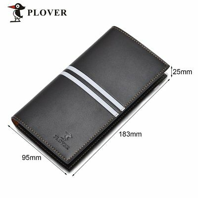 Casual PLOVER GD5909-8NA Men Long Wallet Cow Leather Solid Credit Card Wallet UM