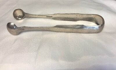 "Early Coin Silver 7 1/4"" Lg Sugar Ice Serving Tongs JOSEPH LOWNES c1700s c1800s"