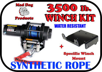 3500lb Mad Dog Synthetic Winch/Mount for '12-16 John Deere Gator XUV 550/550 S4