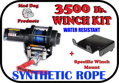 3500lb Mad Dog Synthetic Winch/Mount for John Deere Gator 625i / 825i / 855D