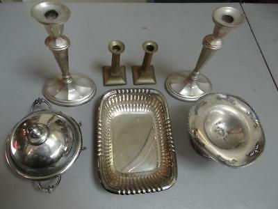 Vintage Silverplate + Brass Pieces Lot Of 7 Pieces Candlesticks + Bowls ++DR5675