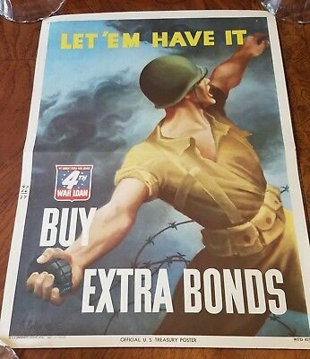 Original WW II Poster Let 'Em Have It 4th War Loan Grenade Army Soldier 10 x 14