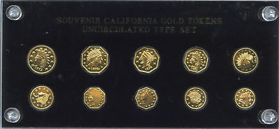 California Gold Tokens Uncirculated Complete Type Set of10 Tokens,Souvenir Gift