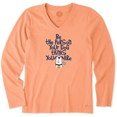 Life is Good. Womens Long Sleeve Crusher Vee: Be the Person Fun, FRESH CORAL