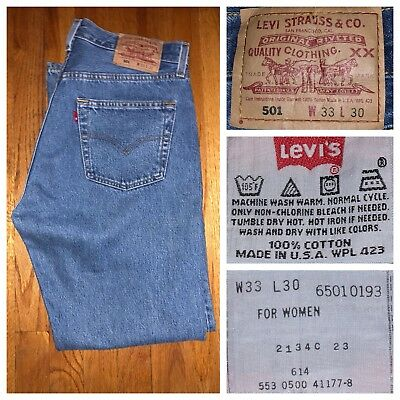 Vtg Levi's 501XX Women's Dark Wash High Washed Mom Jeans Size 33 X 30 USA