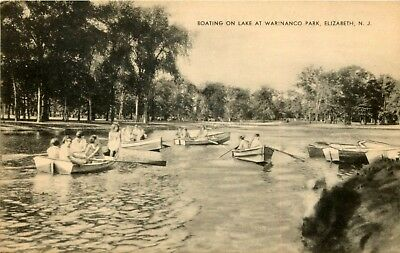 New Jersey Photo Postcard: Boating On Lake At Warinanco Park, Elizabeth, Nj