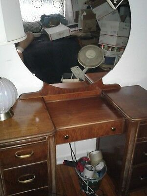 Nice Art Deco Vanity Desk With Round Mirror Local Pick Up
