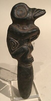 Taino Basalt Puberty Fid With Full Figure Bird Man Finale. PreColumbian
