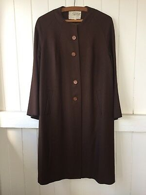 Womens Retro Vintage Swing Coat Phillips of Melbourne chocolate brown size 12-14