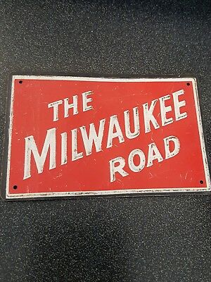 "VTG  ""The Milwaukee Road"" Metal Post Cereal Train Railroad Emblem / Plate/  Sign"
