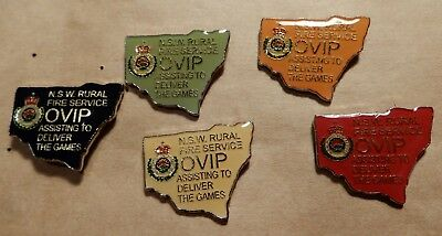 NSW Rural Fire Service - Sydney 2000 Olympics - OVIP state shaped x5 pin set