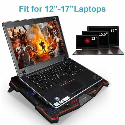 Laptop Cooling Pad w 5 Big Fans Ultra Quiet Cooler Stand Gaming Blue LED Lights