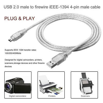 1.2M/5FT USB 2.0 Male to 4 Pin IEEE 1394 Cable FireWire Lead Adapter GL