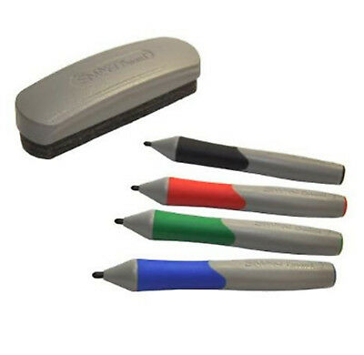 Smart Board Replacement Pens And Eraser - Set Of Four (Black, Red, Blue, Green)