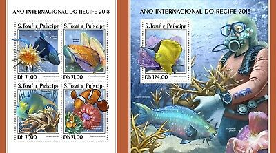 Z08 IMPERF ST18320ab Sao Tome and Principe 2018 Year of the Reef MNH ** Postfris