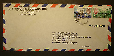 Philippinen/ Philipines 1965/66: airmail letter v. MANILA n PENANG/ MALAYSIA