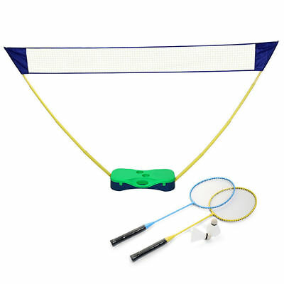 Portable Badminton Set with Standing Box Volleyball Net Frame Badminton Racket