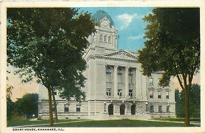 Kankakee, Illinois, IL, Court House, 1922 White Border Vintage Postcard c5712