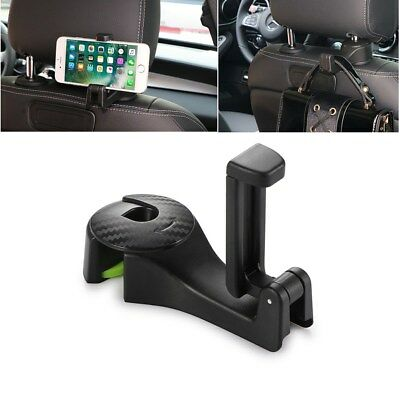 Auto Car Headrest Seat Back Hook Hanger Cell Phone Holder Stand Clip Tool Black