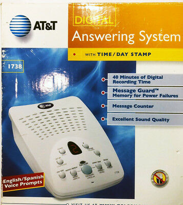 NIB AT&T 1738 Telephone Digital Answering System Machine New in Box w Free Ship