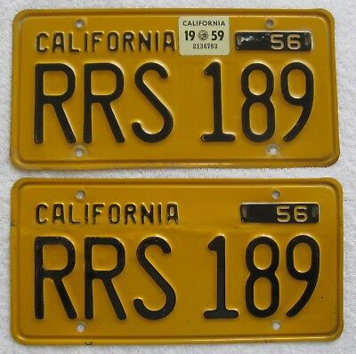 1956 California License Plate Pair DMV Clear #RRS 189