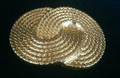 Signed Retro 80's Chunky Belt Buckle Nan Lewis Designs Gold Tone Woven Circles