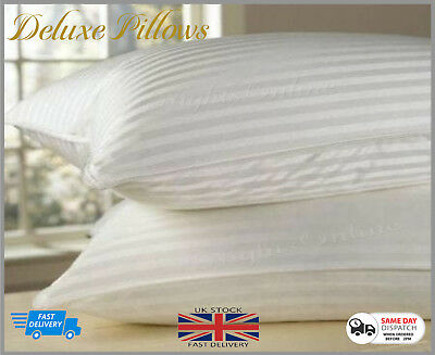 Luxury Deluxe Bounce Back Pillows Stripe Extra Filled Super Jumbo Hotel Quality