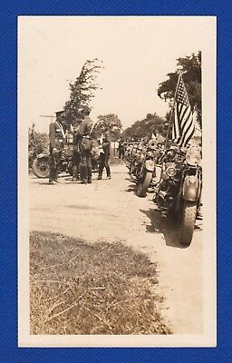 Motorcycle Club Biker Gang Harley 1940's Original Vintage Photo Snapshot (H745)