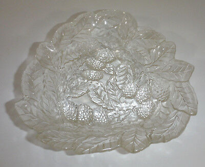 Vintage Clear Indiana Glass Loganberry Triangle Berry Leaf Dish Candy Nut Bowl