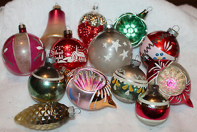 Lot Of 13 Vtg Glass Christmas Ornaments Shiny Brite Poland Mercury Mica Stencil