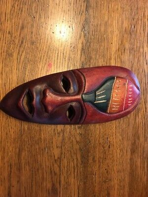 Tribal Tiki Mask Hanging Decor Medium Size Stained In Red Green Yellow