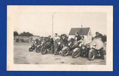 Motorcycle Club Harley Biker Gang 1940's Original Vintage Photo Snapshot (H746)