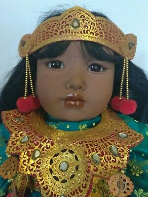 RARE Carin Lossnitzer GOTZ Life Like Bali Dancer Baby Doll w/traditional costume