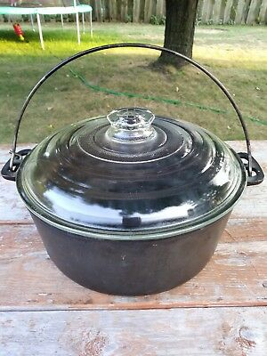 Vintage GRISWOLD Wagner Ware Cast Iron 1268D w/Bail Handle Glass Lid J-1805