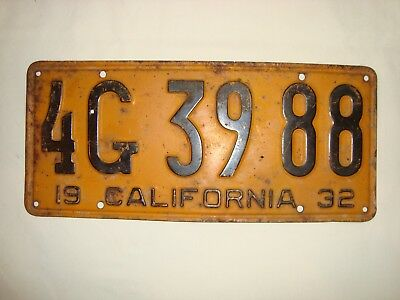 Vintage License Plate 1932 California License Plate 4G 39 88 California 1932
