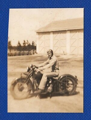 Motorcycle Biker Harley WWII Era 1940's Original Vintage Photo Snapshot (H747)