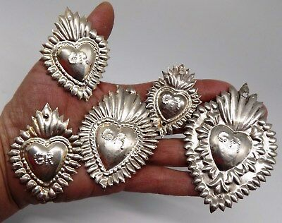 ANTIQUE LOT 5 Sacred Heart Jesus Ex Voto MIRACLE MILAGRO STERLING SILVER 925 A76