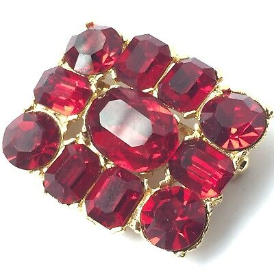 Vintage Mid Century Gold Plated Ruby Red Rhinestone Brooch Pin