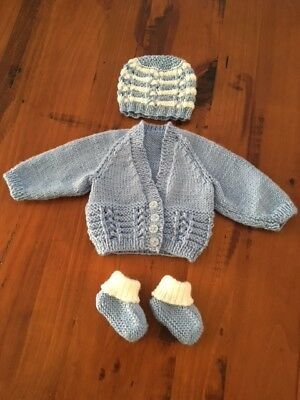 Hand knitted baby set, Cardigan,Beanie and Bootees NEWBORN (Blue/White )